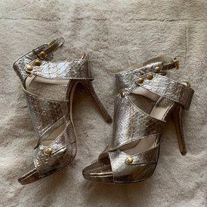 Christian Dior Gold Snakeskin Cage Sandals